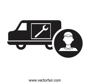 black silhouette plumber in circular frame with service vehicle