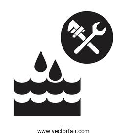 black silhouette drops falling into the water with wrench tools
