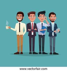 color background full body set of men characters for business