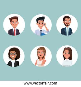 color background with circular frame icons set half body people characters for business