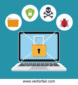 blue color background laptop with security padlock with chains crossed