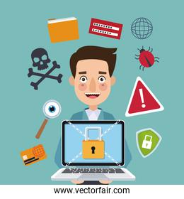 blue color background man programmer holding laptop with security padlock with chains crossed