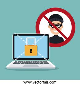 blue color background laptop with security padlock with chains crossed and prohibited hacker signal