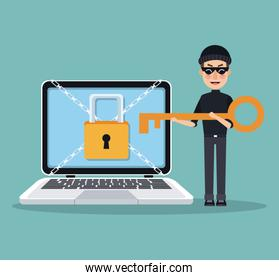 scene color laptop with padlock and chains crossed and thief man hacker with key to stealing