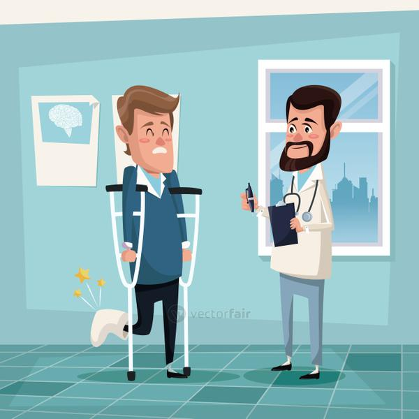 color background hospital room with man in crutches and male therapist