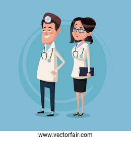 color background male and female team surgeons