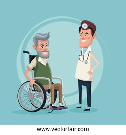 color background with elderly man in wheelchair and specialist doctor