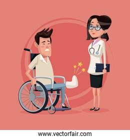 color background with handicapped man in wheelchair and woman specialist doctor
