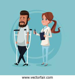 color background with man on crutches and therapist woman