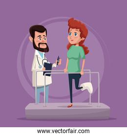 color background with woman in rehabilitation and therapist man