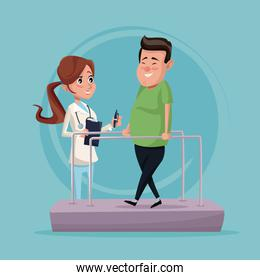color background with man in rehabilitation and therapist woman