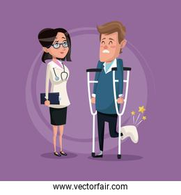 color background with man on crutches and doctor woman