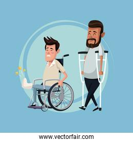 color background set men in wheelchair and crutches