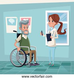 color background hospital room with elderly man in wheelchair and female therapist