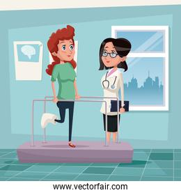color background hospital room with woman in rehabilitation and female therapist