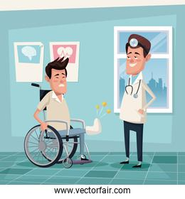 color background hospital room with young man in wheelchair and specialist male doctor