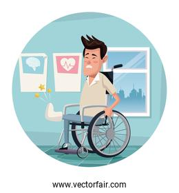 circular frame with color scene hospital room with man in wheelchair