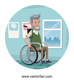 circular frame with color scene hospital room with elderly man in wheelchair