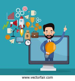 blue color background businessman coming out to display computer and icons geenerating ideas star up