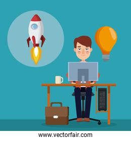 blue color background with businessman in workplace and icon rocket