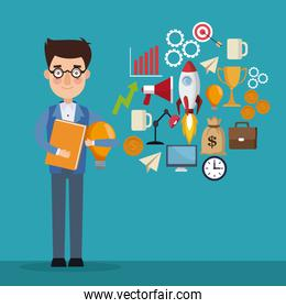 blue color background businessman and icons geenerating ideas star up