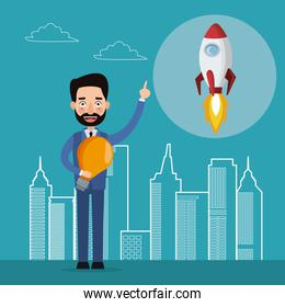 blue color background with city landscape silhouette start up businessman and icon rocket