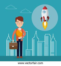 blue color background with city landscape silhouette start up businessman with portfolio and icon rocket