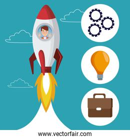 blue color background with clouds silhouette start up businessman inside to rocket with icons