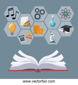 open book with gray color geometric abstract figures with icons academic knowledge