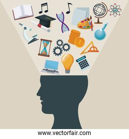 color background side view silhouette head human with light halo icons academic knowledge