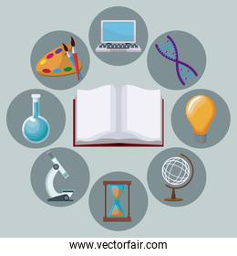 color background open book with icons academic knowledge around