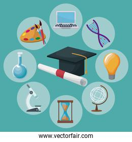 color background graduation cap and certificate with icons academic knowledge around