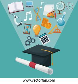color background graduation cap and certificate with light halo icons academic knowledge