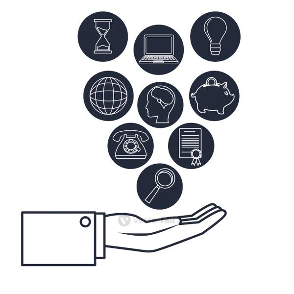 white background with dark blue silhouette executive hand holding icons business investment