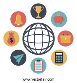 color silhouette icons element investment around to global earth world
