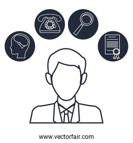 white background with silhouette half body executive man with icons creative business