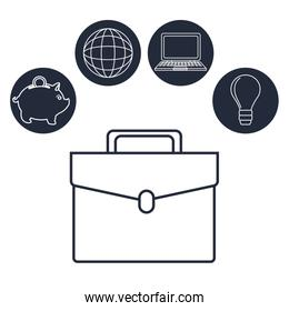 white background with silhouette executive briefcase with icons investment global business
