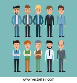 color background full body set of multiple men characters for business