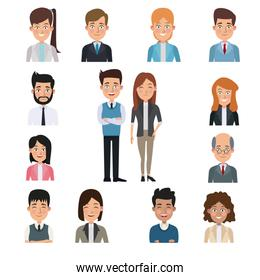 white background in center full body pair executive with half body people business around