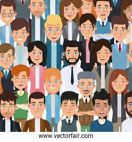 colorful poster closeup half body executive people for characters business