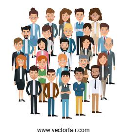 white background full body executive people meeting for characters business