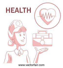 white background with red color sections of silhouette nurse with first kit aid and icon heartbeat