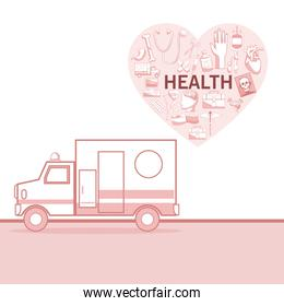 white background with red color sections of silhouette ambulance car and heart shape with elements health