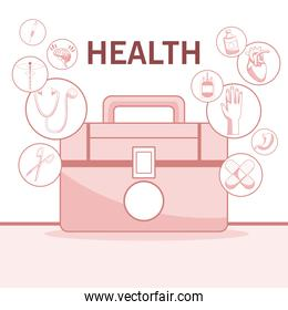 white background with red color sections of silhouette closeup first kit aid with floating icons health