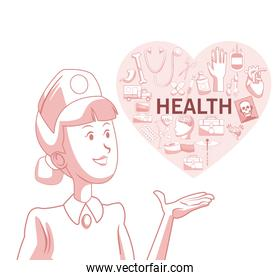 white background with red color sections of silhouette nurse with heart shape with elements health