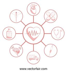 white background with red color sections of silhouette heartbeat connected to circular frames elements health