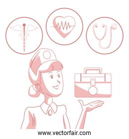 white background with red color sections of silhouette nurse with floatin kit first aid and elements health in circular frame
