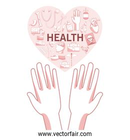 white background with red color sections of silhouette hands holding a floating heart shape with elements health