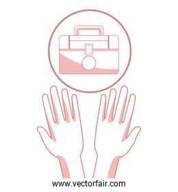 white background with red color sections of silhouette hands holding a floating kit first aid in circular frame
