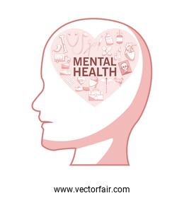white background with red color sections of silhouette profile human head with heart shape elements health